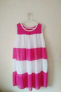 Pink and White Puffed Dress