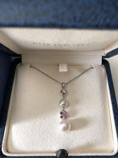 Mikimoto Diamond Pearl 18K White Gold Necklace