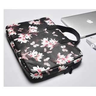 [PO} Black Sakura Leather Laptop Bag!