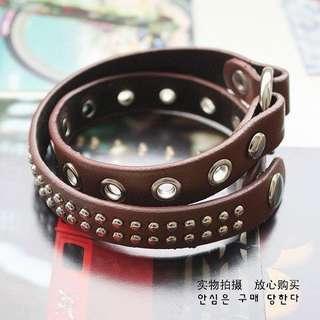 PF010 褐色 雙層 皮感 鉚釘 中性 手鏈