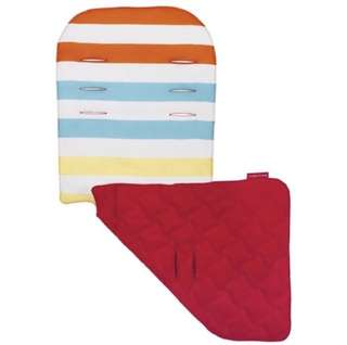 Brand NEW Original Maclaren Reversible Seat Liner in Broad Band Stripe Sunrise Multi/Scarlet!