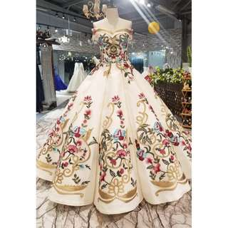 Pre order royal arab off shoulder puffy ball wedding bridal prom dress gown  RB0598