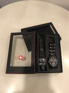 Swiss military hanova黑男錶
