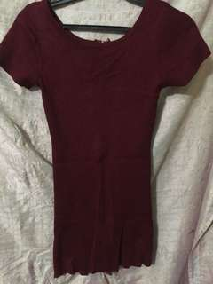 Maroon fitted dress
