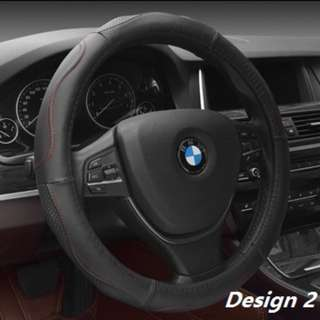 Genuine Leather Car Steering Wheel Cover! Black with Red Thread!