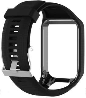 Silicone Watchband Frame Replacement for TomTom Runner 2/Spark/Spark 3(Black)
