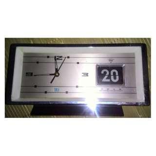 懷舊自動翻頁日曆機械桌鬧鐘