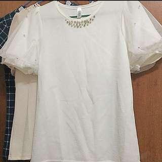 韓國 OL泡泡袖釘珠上衣
