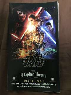 El Capitan Theatre Star Wars The Force Awakens Invitation Program Brochure/s