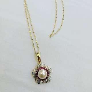 Pearl Rubies Diamond Pendant 14k gold