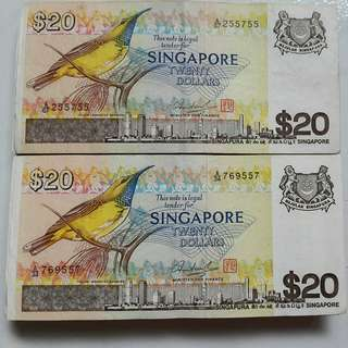 "20 dollars yellow ""Bird"" series paper note"