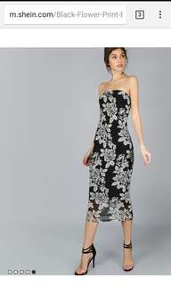 Bandeau Floral Tube Dress (imported Hk)