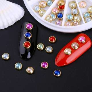 Blueness Colorful 4mm Metal Edging Pearl Design For Nails Accessories Glitter Wheel Manicure Charms Nail Art Decorations ZP048