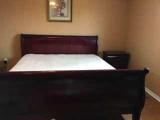 King Size Bed Frame, Mattress and Sidetable