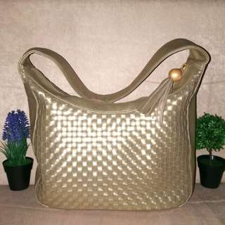 Woven Leather Metallic Gold Hobo Bag