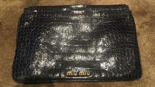 Miu miu croc effect patent leather clutch