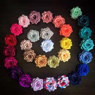 Handsewn Ribbon Rose Brooches