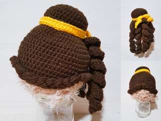 Tales as old as time. Beauty and the beast. Belle wig. Crochet. Knit. Yarn. Amigurumi. Newborn photographer. Hat. Disney