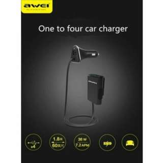 4 Port Car Socket Charger Fast Charging 2.1A Current Awei C400