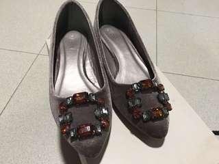 Vincci Lilac Velvet Diamanté Flats