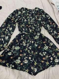 Floral long sleeve romper