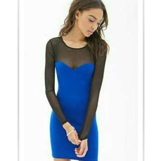 Forever 21 Blue Mesh Paneled Bodycon Dress