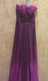 Ombré Light and Dark Purple Halter Embellished/Beaded Long Gown by Debbie Co Teng - Prom, Bridesmaid, Wedding, Evening Gala