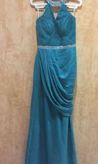 Teal Blue Green Halter Embellished/Beaded Electric Pleats Long Gown by Stephanie Tan Couture - Prom, Bridesmaid, Wedding, Evening Gala