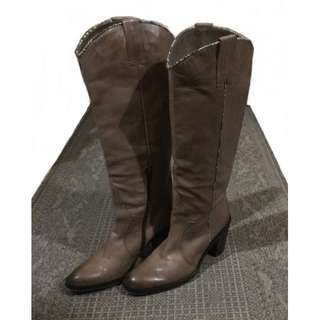 COSMO FANTASY CLASSIC ITALIAN LEATHER CAMEL BOOTS WITH SNAKESKIN ACCENT
