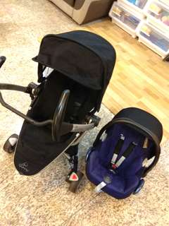 Preloved Quinny Zapp Xtra2 travel system stroller with car seat