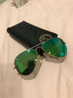 Rayban polarised green mirror aviators