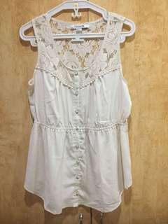 Forever 21 White Lace Office Summer Top