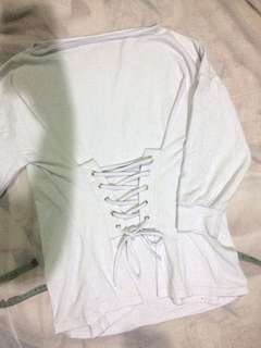 Lace up front detailed top