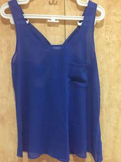 Forever 21 Blue Sexy Crisscross Back Top