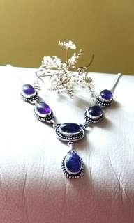 "Attractive Amethyst Necklace 19"". Set in 925 Silver."