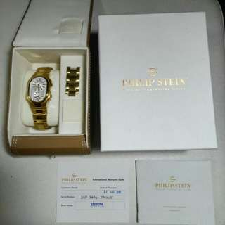 Philip Stein Women's  Watch Signature Yellow Gold Tone Dual Time Silver Dial