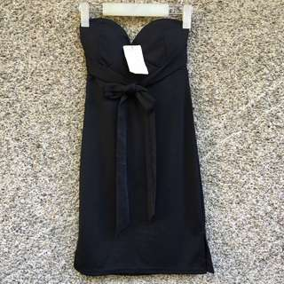 Black Tube Tie Knot Dress with pads