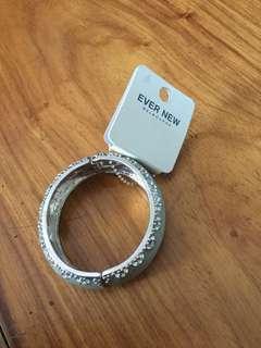 Ever New Blue and Silver Tone Bangle Bracelet
