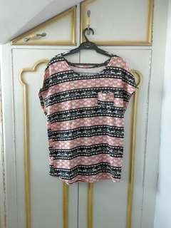 Pink and black striped top