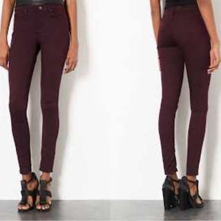 Topshop Leigh Maroon Jeans