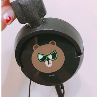 [ 近全新 ]  LINE FRIENDS 熊大頭戴式耳機 ( 無殼 )