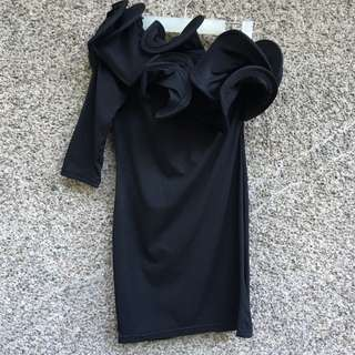 Black Ruffled Lightweight Dress