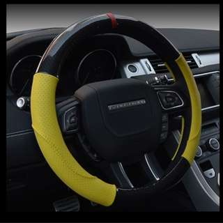 Carbon Fiber with Leather Car Steering Wheel Cover