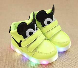 BNIB Luminous Green shoes with LED lights