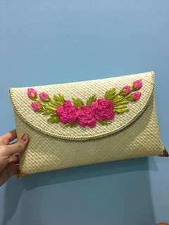 Handmade Straw Flower Clutch