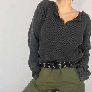 Vintage 90s Half Zip Henley Sweater