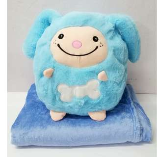 Blue Sheep 2 in 1 Pillow + Blanket