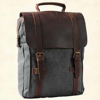7cb48ca52 Big Grey Retro Leather Canvas Patchwork Unisex Backpack Vintage Bag Casual  Rucksack Travel Rucksack Preppy Style
