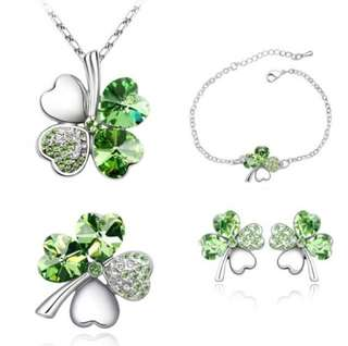 Austrian Crystal Sweet Clover  Peridot, Necklace, Earring, Bracelet Jewellery Set