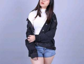 Bershka Oversized Denim Jacket (Black)